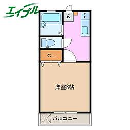 ルーラルハイツIWATA 1階1Kの間取り