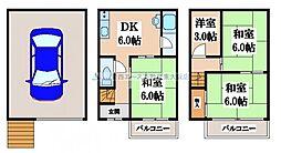 [一戸建] 大阪府東大阪市永和1丁目 の賃貸【/】の間取り