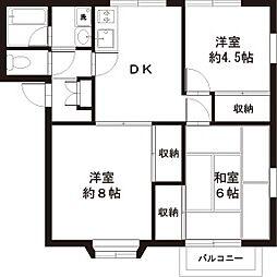 東京都福生市加美平2丁目の賃貸アパートの間取り