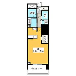 セントラルレジデンス 6階ワンルームの間取り