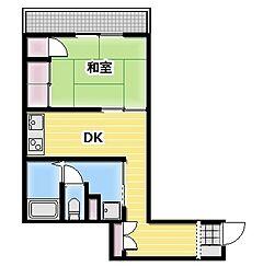 ラインハット本庄 4階1DKの間取り