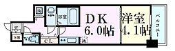 Osaka Metro四つ橋線 本町駅 徒歩10分の賃貸マンション 2階1DKの間取り