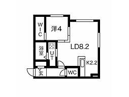 リヒトラーレ円山 4階1LDKの間取り