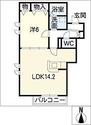 ヘーベルコート片西[1階]の間取り