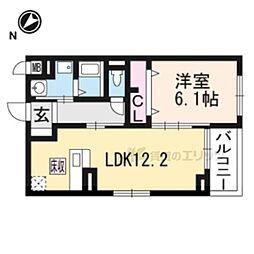 JR東海道・山陽本線 長岡京駅 徒歩32分の賃貸アパート 1階1LDKの間取り