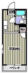 メゾンソレイユ 2階1Kの間取り