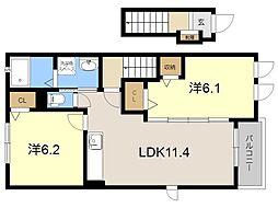 JR日豊本線 隼人駅 徒歩17分の賃貸アパート 2階2LDKの間取り