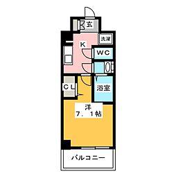 プレサンスジェネ浅草WEST 4階1Kの間取り