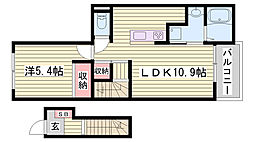 JR東海道・山陽本線 明石駅 バス12分 変電所前下車 徒歩5分の賃貸アパート 2階1LDKの間取り