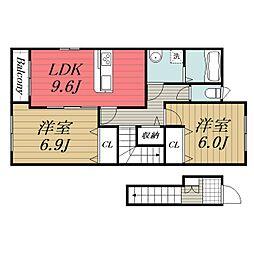 JR総武本線 八街駅 バス10分 文違下車 徒歩1分の賃貸アパート 2階2LDKの間取り