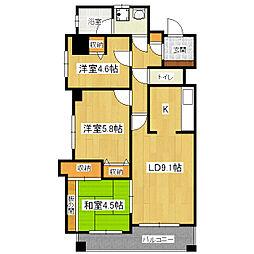 グランディオス京都東[3階]の間取り