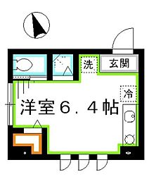 JR中央本線 三鷹駅 徒歩4分の賃貸マンション 1階ワンルームの間取り