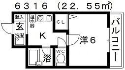 BLUE PLANET(ブループラネット)[202号室号室]の間取り