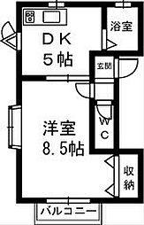ラフィーユ B[2階]の間取り