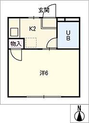 ハイツ林[2階]の間取り