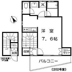 東京都世田谷区若林5丁目の賃貸アパートの間取り