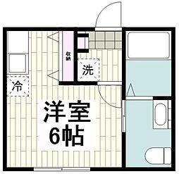 横浜市営地下鉄ブルーライン 中田駅 徒歩10分の賃貸アパート 1階ワンルームの間取り