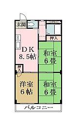 埼玉県草加市原町2丁目の賃貸マンションの間取り