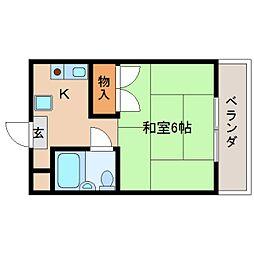 JR桜井線 櫟本駅 徒歩4分の賃貸マンション 3階1Kの間取り