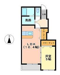 エステート花ノ木[1階]の間取り