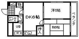 プレジデントハイツ東岸和田[4階]の間取り