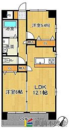 福岡県古賀市中央2丁目の賃貸マンションの間取り