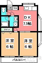 KBコート本町II[1206号室]の間取り