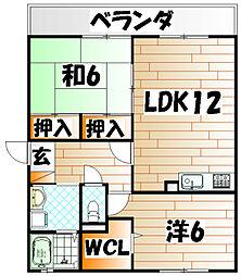 福岡県北九州市八幡西区八枝5丁目の賃貸アパートの間取り