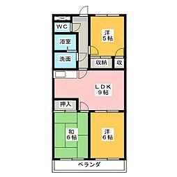 ファミール西浜田 南館[4階]の間取り