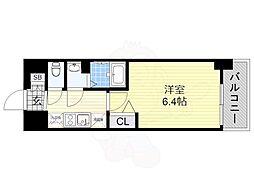 近鉄南大阪線 河堀口駅 徒歩3分の賃貸マンション 9階1Kの間取り