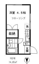 東京都品川区旗の台4丁目の賃貸アパートの間取り