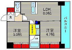 エステムプラザ難波WESTIIプレディア[12階]の間取り