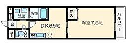メゾンバイタルA棟 4階1DKの間取り