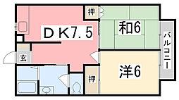 フラッツ東今宿[201号室]の間取り