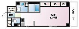 Xing CUBE ONE 2階1Kの間取り