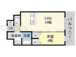 プレサンス新大阪イオリア 10階1LDKの間取り