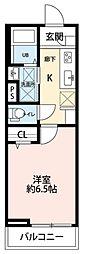 JR横浜線 橋本駅 徒歩11分の賃貸アパート 1階1Kの間取り