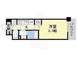 Osaka Metro御堂筋線 なかもず駅 徒歩4分の賃貸マンション 2階1Kの間取り