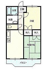 兵庫県加古川市平岡町一色西2丁目の賃貸マンションの間取り