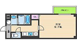 ヴィラペントハウス桑津 4階1Kの間取り