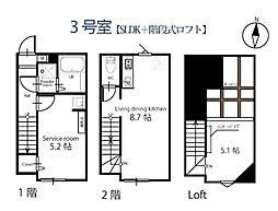 ハーミットクラブハウス大岡山II 2階1SDKの間取り