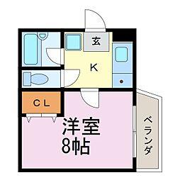 プロクシイスクエア安田通[405号室]の間取り