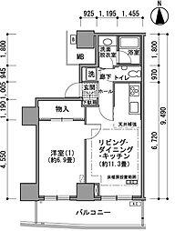 都営大江戸線 汐留駅 徒歩4分の賃貸マンション 38階1LDKの間取り