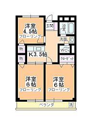 内田ハイツ霞ヶ関[202号室]の間取り