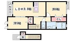 JR姫新線 本竜野駅 徒歩13分の賃貸アパート 2階2LDKの間取り