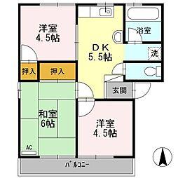 カーサ竹倉A[2階]の間取り