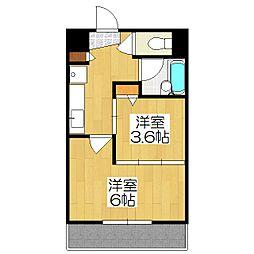 デ・リード金閣寺道[206号室]の間取り