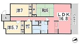 キャッスルコート飯田[102号室]の間取り
