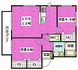 シャーメゾン熊野東[1階]の間取り