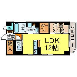 愛知県名古屋市西区浅間2丁目の賃貸マンションの間取り